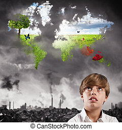 Child imagines a clean world - Boy child imagines a natural...