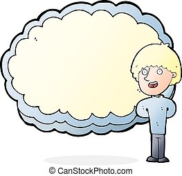 cartoon happy man with cloud text space