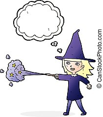 cartoon witch girl casting spell with thought bubble