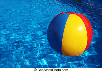 Open-air swimming pool - An inflatable colored plastic ball...