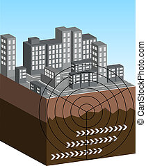 Earthquake illustration - An illustrated scene showing the...