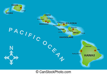 Map of Hawaii - A stylized mapof the island of Hawaii and...