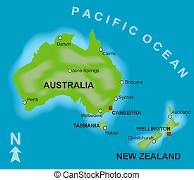 Map of Australia and New Zealand - A stylized map showing...