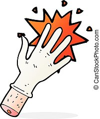 cartoon rubber glove - cartoon snapping rubber glove symbol