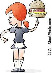 cartoon waitress serving a burger