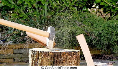 Lumberjack chopping wood slow mo - Lumberjack chopping wood...