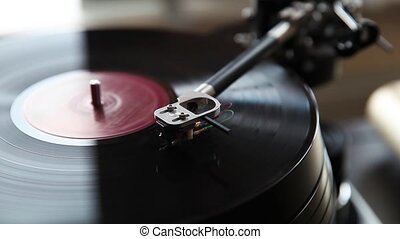 Record player playing vinyl, retro vinyl turntable stylus...