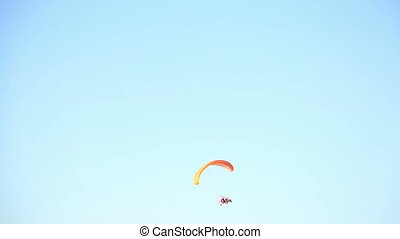 Para motor glider on blue sky