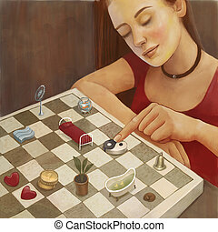 Feng shui illustration of a young woman arranging furniture...