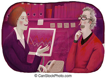 Financial consultant - An illustration of a male client and...
