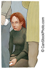 Tired in a queue - An illustration of exhausted young woman...