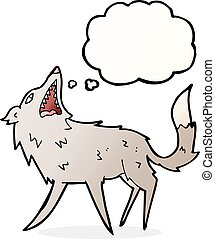cartoon snapping wolf with thought bubble