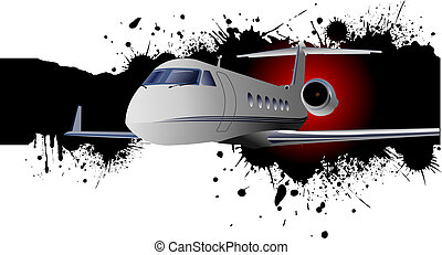 Banner with Airplane flight. Vector illustration