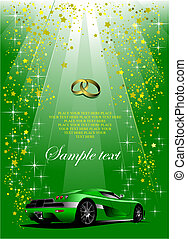 Holiday green background with green sport car Vector
