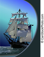 Marine background with sail ship.