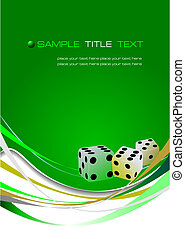 Green abstract background with dice image. Vector...