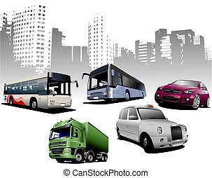 Five examples of city transport on urban background Vector