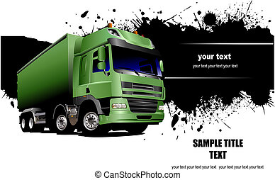 Green truck on the road. Vector illustration