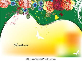 Floral spring background. Vector illustration. Invitation card