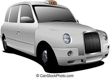 londres, blanco, taxi, vector, Ilustración