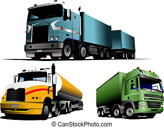 Green, blue and yellow trucks on the road. Vector...