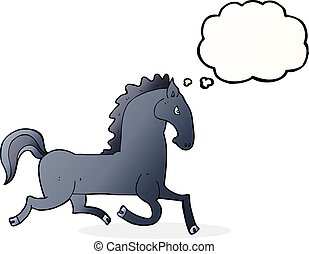 cartoon running black stallion with thought bubble
