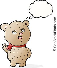 cartoon cute teddy bear with scarf with thought bubble