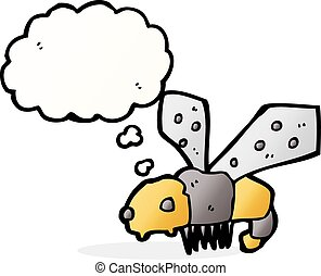 cartoon bee with thought bubble