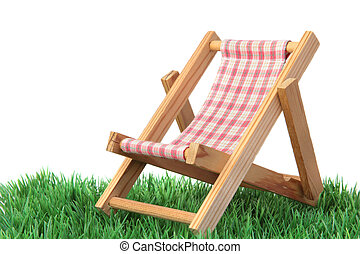 Recreation - A standard deck chair on a green meadow. All...