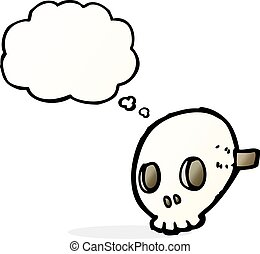 cartoon skull mask with thought bubble