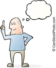 cartoon man pointing finger with thought bubble