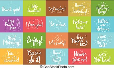 Greeting and inspirational cards set Typographic vector...