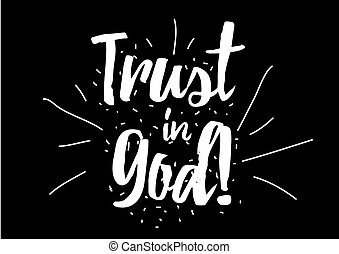 Trust in God inscription Greeting card with calligraphy Hand...