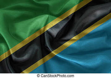 Waving Fabric Flag of Tanzania