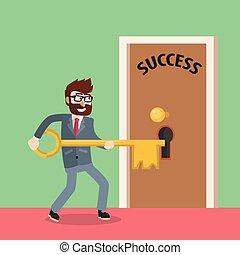 Business man unlocking success door