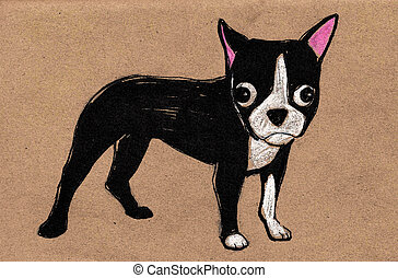 Boston Terrier puppy dog illustration - Hand drawn vector...