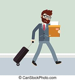 Business man walking with suitcase