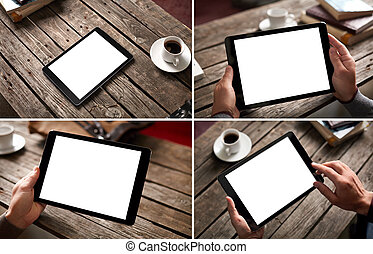 Mockup set of digital tablet pc images