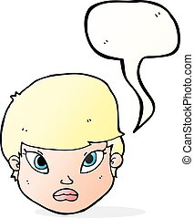cartoon serious face with speech bubble