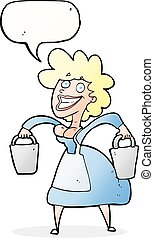 cartoon milkmaid carrying buckets with speech bubble