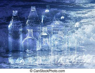 Pet bottle - Rows of empty plastic pet bottle on water...