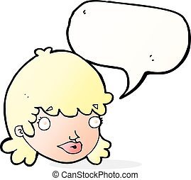 cartoon female face with surprised expression with speech...