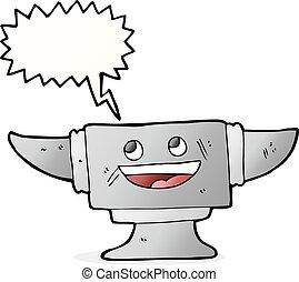 cartoon blacksmith anvil with speech bubble