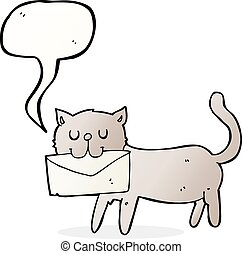 cartoon cat carrying letter with speech bubble
