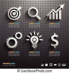Dark pegboard background with business Tools. Icons business...