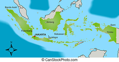 Map of Indonesia - A stylized map of Indonesia showing...