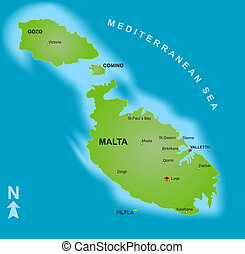 Map of Malta - A stylized map of Malta showing the islands...
