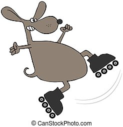 Brown Dog On Roller Blades - This illustration depicts a...