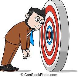 Business man missing target illustration design
