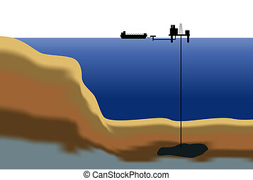 Offshore oil rig - An illustration showing an oil platform...
